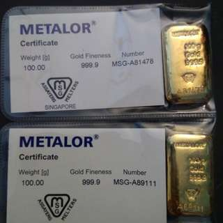 Investment Gold Bar 99.99%