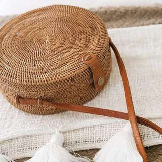 Leather Button Straw Bag