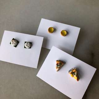 Egg Tarts / Tutu Kueh / Pizza Slice Clay Ear Studs