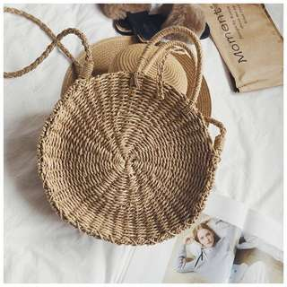 Top Handle Rattan Straw Bag