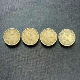1948-1951佐治六世頭像香港一毫硬幣一套共4個(各年份一個)