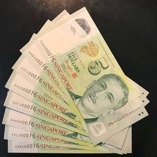 """8 Pcs Identical Number! Singapore $5 Portrait Polymer TS Sign, 8 Pcs Identical Number 500016 With 4AA First Prefix UNC, With 4AA Over Ink On """"Singapore"""""""