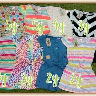 Rp95.000/ 3 pcs - Jumpsuit Pendek BoBo Kids Size 2-5 Tahun