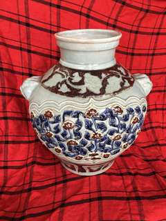 Yuen dynasty sculptured flowers in cobalt red n blue underglazed jar, 39cm High x 33 cm diameter. Special offer for this authentic Yuen artwork . Interested buyer to offer,