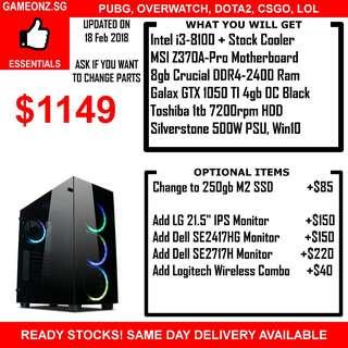 READY STOCK GTX1060 GTX 1060 Gaming PC DESKTOP I3-8100 I5-8400 I7-8700K COFFEE LAKE PUBG ESPORTS OVERWATCH DOTA2 LOL CSGO FIFA18 DESTINY GTAV