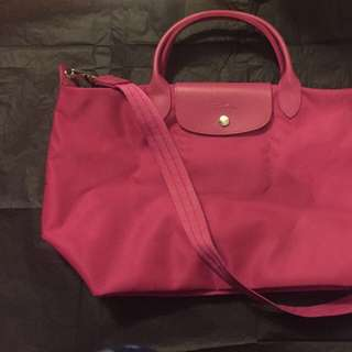 Pink Long Champ handbag