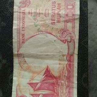 Uang seratus rupiah tahun 92