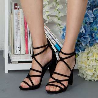 Maisy Cross Strappy Stilettos Heels (Black)