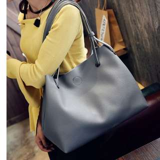 Large Gray Tote | Free Pouch Inclusive