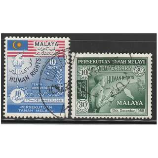MALAYAN FEDERATION 1958 10th Anniversary of Declaration of Human Rights set of 2V used SG #10-11 (A)