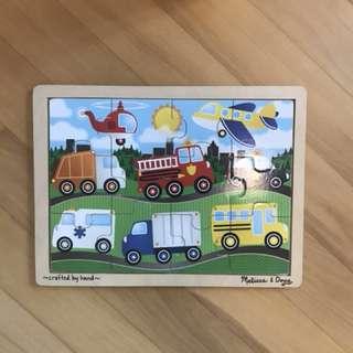 Melissa and doug puzzle - cars, transportation