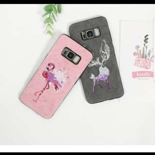 Samsung embroidery flamingo/reindeer casing