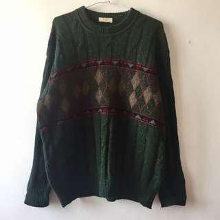 濃濃的綠色古著針織毛衣