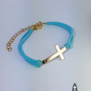 Simple Blue Leather Band Gold Cross Bracelet *Blessing