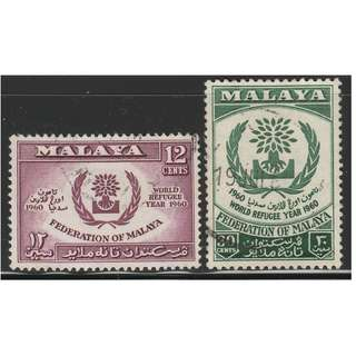 MALAYAN FEDERATION 1960 World Refugee Year set of 2V used SG #15-16 (A)