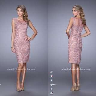 La Femme Mauve Lace Cocktail Dress