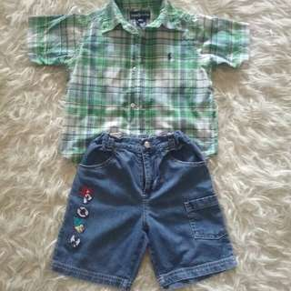 Set kemeja Polo & disney jeans