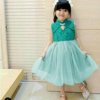 Dress Sunny (Mint) (Biru) (Red) Rp68.000 Bhn brukat lapis furing bawah tile lapis furing fit 3-5 th. Redi jkt
