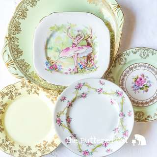5-piece mix and match vintage plates for afternoon tea, lovely pastels