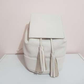 Zara White Pebbled Backpack