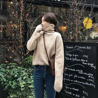 high neck knit sweater pullover