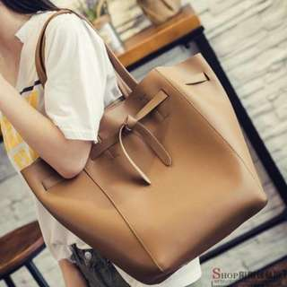 Large Brown/Camel-colored Tote Bag | PU Leather | Brand New