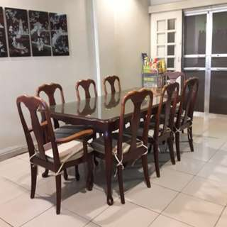 8-seater Malaysian Hardwood Dining Set