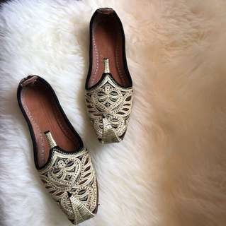 Ethnic middle eastern gold embroidered leather shoes