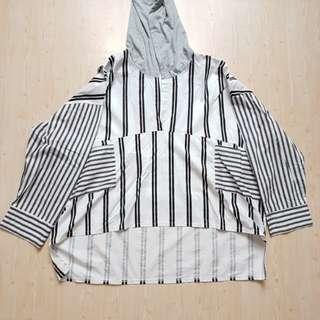Oversized strip hoodie
