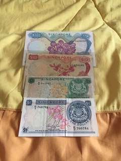 Singapore orchid $1 $5 $10&$50 banknote