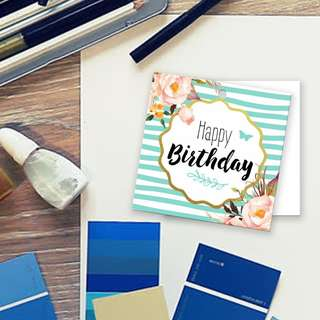 Happy Birthday Floral turquoise strip Card Label Gift Tag