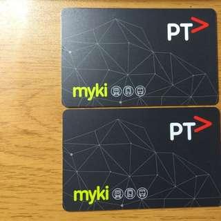Myki 儲值卡(墨爾本使用)內有儲值額