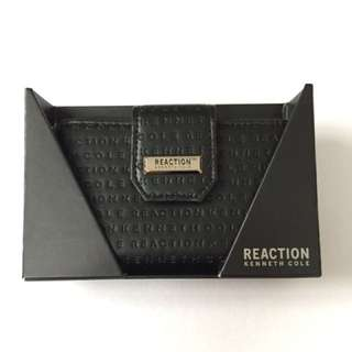KENNETH COLE REACTION BLACK EMBOSSED PAY YOUR TAB WOMEN'S WALLET AUTHENTIC $50