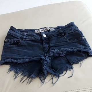FLASH SALE Brandy Melville Ripped Frayed Black Denim Low Waist Shorts Hot Pants