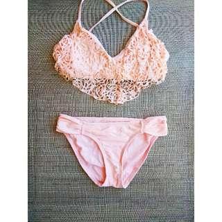 Beautiful peach 2 piece bikini.