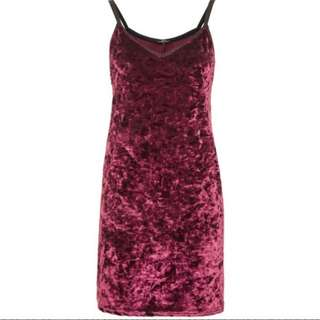 Crushed Velvet Slip Dress (Topshop)