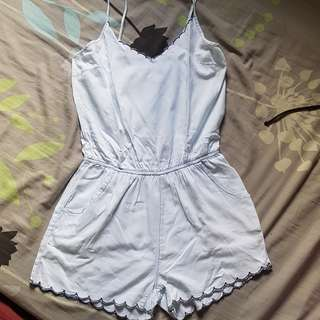 Soft denim scallop romper