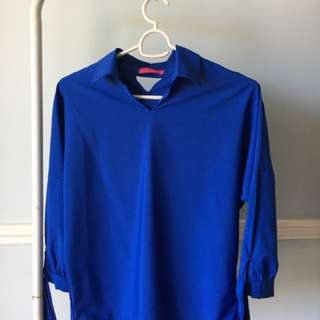 Saturday Dress Semi formal Blue top with sleeves