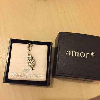 Amor Stirling silver owl charm