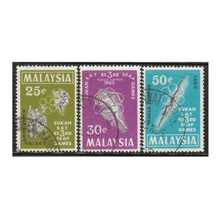 MALAYSIA 1965 3rd South East Asian Peninsular Games set of 3V used SG #28-30 (A)