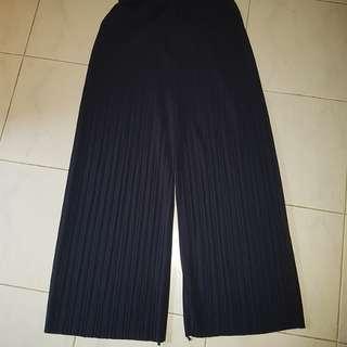 INSTOCK Navy Blue Pleated Wide Leg Pants