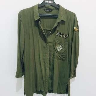 Army Olive Shirt (Stradivarius)