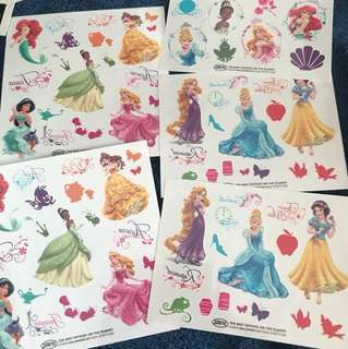 Princess Tatoos 3 inches tall, 20 pcs