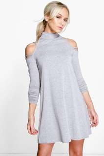Boohoo Cold Shoulder Swing Dress