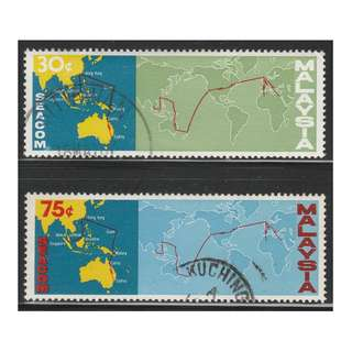 MALAYSIA 1967 Completion of Malaysia-Hong Kong Link of SEACOM Telephone Cable set of 2V used SG #42-43 (A)