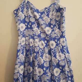 Review blue and white floral dress