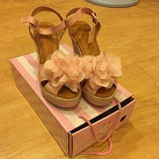 🚚 《降》全新 渡假風 花朵 楔形鞋
