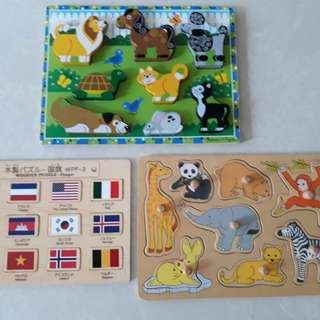 Wooden animal puzzles for babies