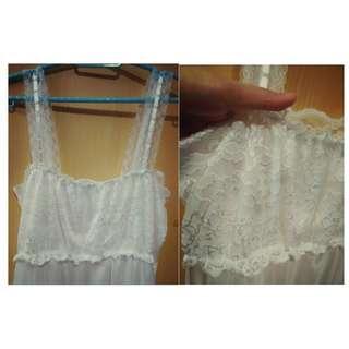 尼龍(滑) 喱士性感 白色吊帶睡裙 (少少)透視 White Nylon Sexy Lace (little)Seethrough underwear (dress