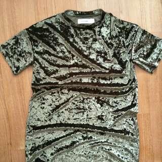 The editor market funky army green velvet T-shirt dress